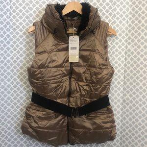 🌞 NWT Roosevelt Black Label fur lined puffer vest